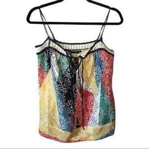 BCBGMAXAZRIA Color Block Floral Silk Camisole